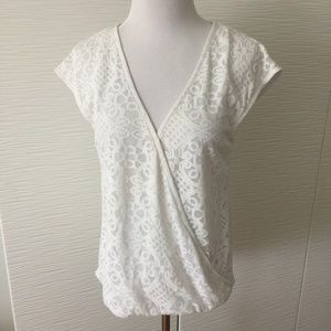 Bebe Lace Wrap Top in White
